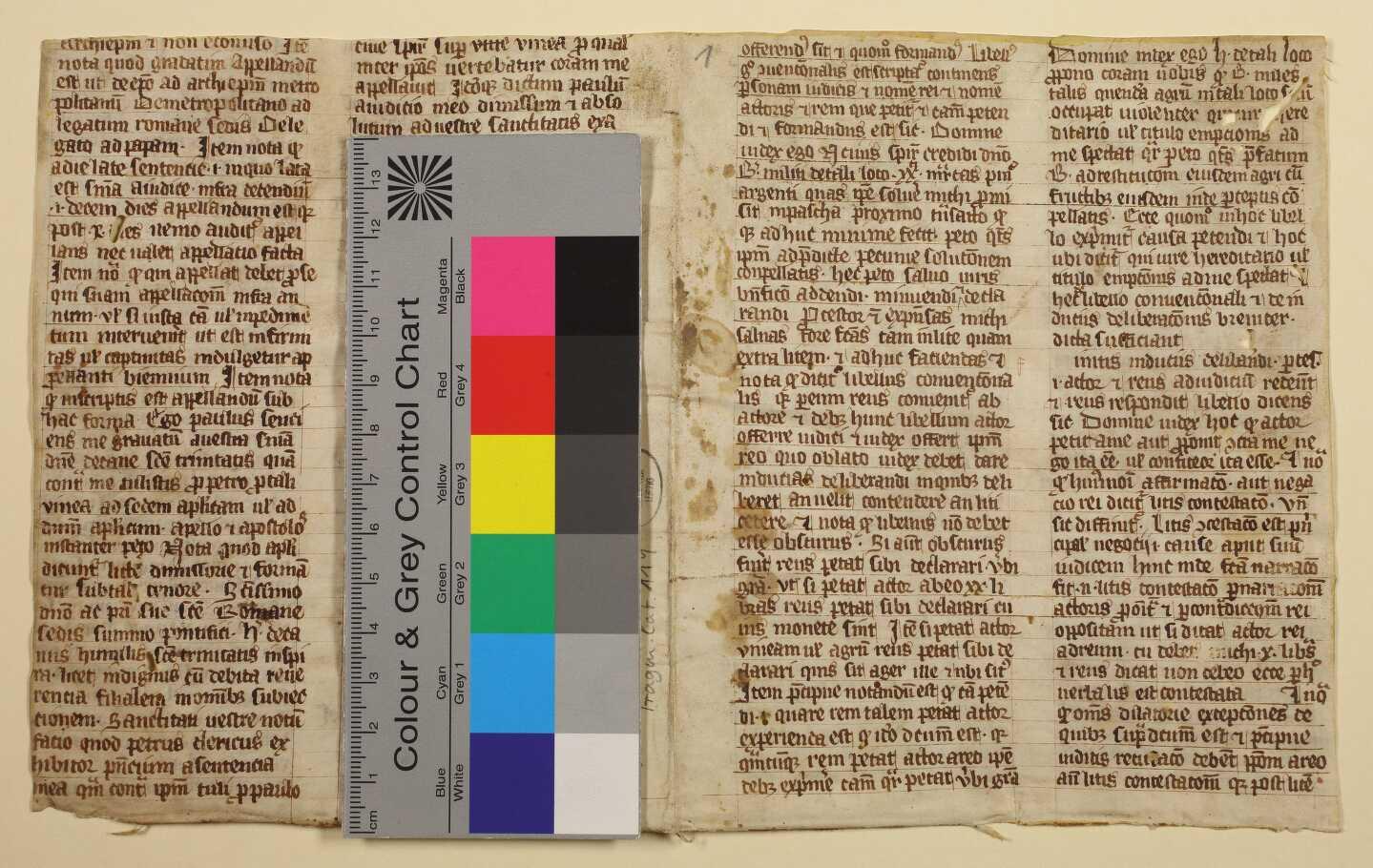 Vorderseite des Doppelblatts mit Farbkeil