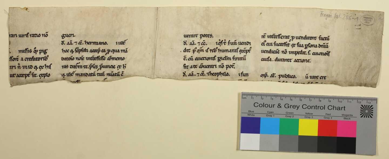 256-1: Rückseite des Doppelblatts mit Farbkeil