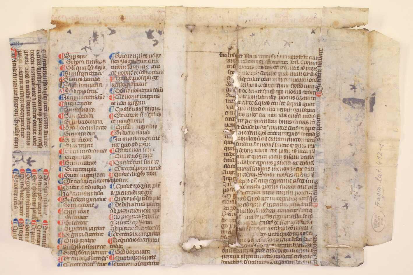 412-1: Rückseite des Fragments